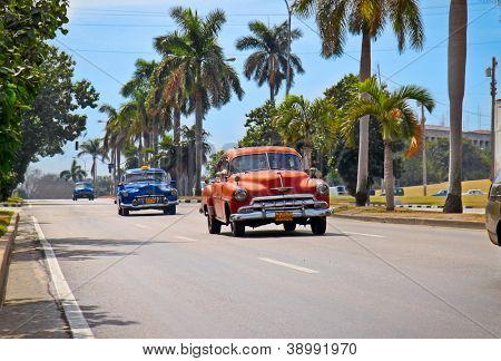 HAVANA - FEB 2:American classic cars are shown Feb 2, 2010 in Havana. Cubans, unable to buy newer models, keep thousands of them running despite the fact that parts have not been produced for decades.