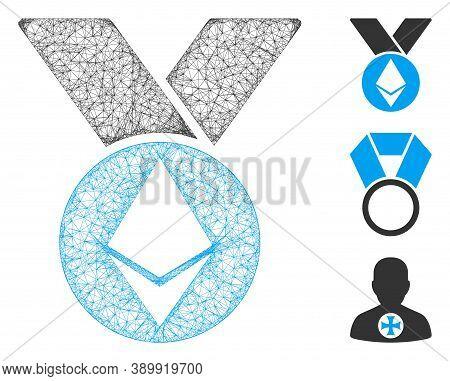 Mesh Ethereum Medal With Ribbons Polygonal Web 2d Vector Illustration. Model Is Based On Ethereum Me