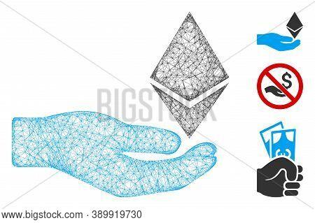 Mesh Ethereum Offer Hand Polygonal Web 2d Vector Illustration. Model Is Based On Ethereum Offer Hand