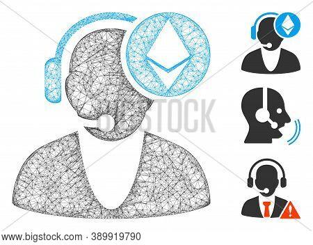 Mesh Ethereum Operator Polygonal Web Symbol Vector Illustration. Carcass Model Is Based On Ethereum