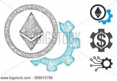 Mesh Ethereum Options Cogwheel Polygonal Web Symbol Vector Illustration. Model Is Based On Ethereum