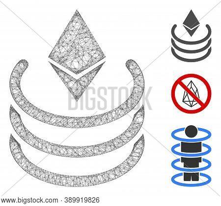 Mesh Ethereum Portal Polygonal Web Icon Vector Illustration. Model Is Based On Ethereum Portal Flat