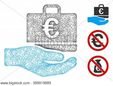 Mesh Euro Accounting Hand Polygonal Web 2d Vector Illustration. Carcass Model Is Based On Euro Accou