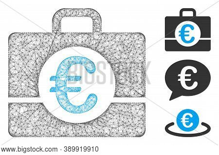 Mesh Euro Accounting Polygonal Web Icon Vector Illustration. Carcass Model Is Based On Euro Accounti