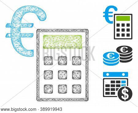 Mesh Euro Accounting Polygonal Web Icon Vector Illustration. Model Is Based On Euro Accounting Flat