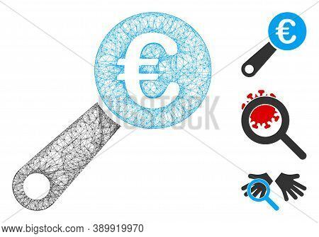 Mesh Euro Audit Polygonal Web Icon Vector Illustration. Abstraction Is Created From Euro Audit Flat