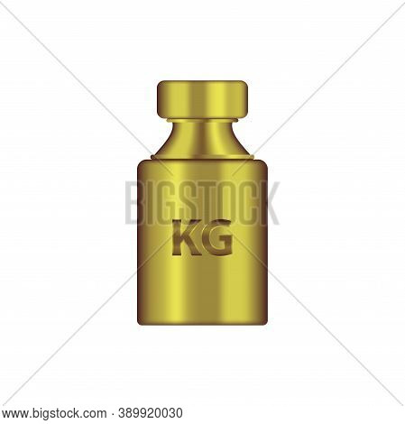 Kg Weight Mass Golden Metal Realistic Vector. Old Press Collection In Realistic Design. Golden Chrom