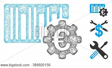 Mesh Euro Barcode Setup Polygonal Web 2d Vector Illustration. Carcass Model Is Based On Euro Barcode
