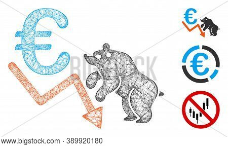 Mesh Euro Bear Stock Trend Polygonal Web Icon Vector Illustration. Carcass Model Is Based On Euro Be