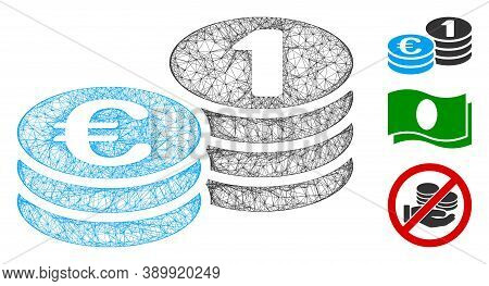 Mesh Euro Coins Polygonal Web Icon Vector Illustration. Model Is Based On Euro Coins Flat Icon. Tria