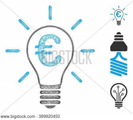 Mesh Euro Idea Bulb Polygonal Web Icon Vector Illustration. Carcass Model Is Based On Euro Idea Bulb