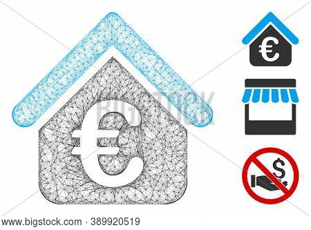 Mesh Euro Loan Real Estate Polygonal Web Icon Vector Illustration. Carcass Model Is Based On Euro Lo