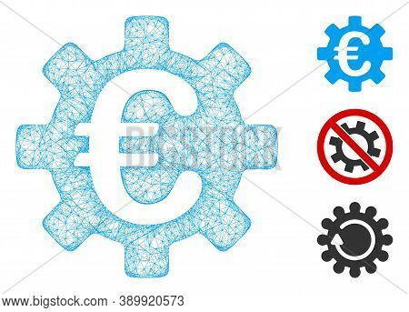 Mesh Euro Machinery Gear Polygonal Web Icon Vector Illustration. Carcass Model Is Based On Euro Mach