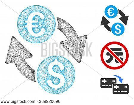 Mesh Euro Money Exchange Polygonal Web 2d Vector Illustration. Carcass Model Is Based On Euro Money