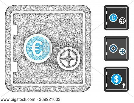 Mesh Euro Safe Polygonal Web 2d Vector Illustration. Carcass Model Is Based On Euro Safe Flat Icon.