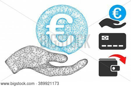 Mesh Euro Salary Polygonal Web Icon Vector Illustration. Carcass Model Is Based On Euro Salary Flat