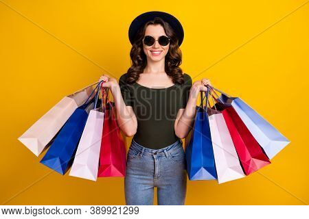 Portrait Of Her She Nice Attractive Lovely Fashionable Pretty Cheerful Wavy-haired Girl Carrying New