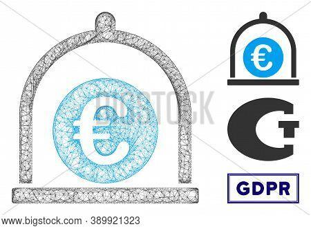Mesh Euro Standard Polygonal Web Icon Vector Illustration. Model Is Based On Euro Standard Flat Icon