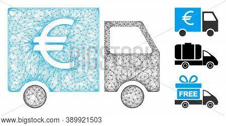 Mesh Euro Truck Polygonal Web Symbol Vector Illustration. Carcass Model Is Based On Euro Truck Flat