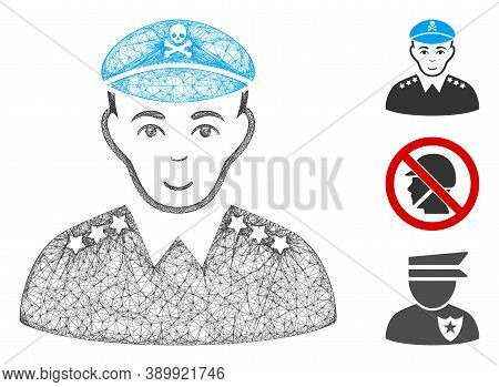 Mesh Evil Army General Polygonal Web Icon Vector Illustration. Model Is Based On Evil Army General F