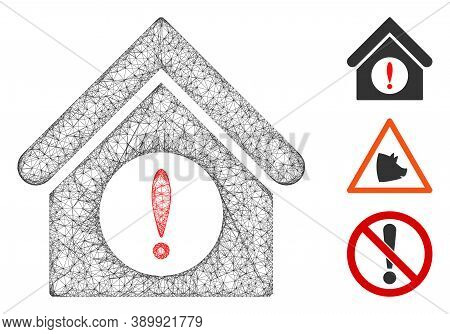 Mesh Exclamation Building Polygonal Web 2d Vector Illustration. Model Is Based On Exclamation Buildi