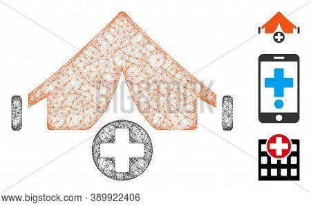 Mesh Field Hospital Polygonal Web Icon Vector Illustration. Model Is Based On Field Hospital Flat Ic