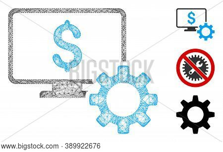 Mesh Financial Monitoring Options Polygonal Web Symbol Vector Illustration. Carcass Model Is Based O