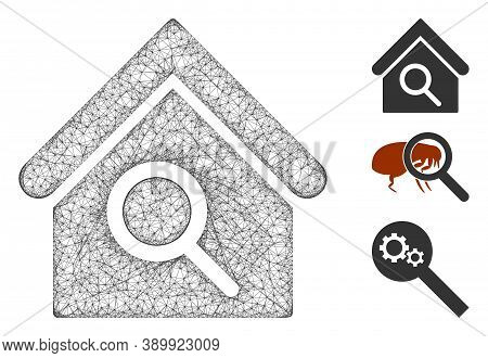 Mesh Find Building Polygonal Web Icon Vector Illustration. Model Is Based On Find Building Flat Icon
