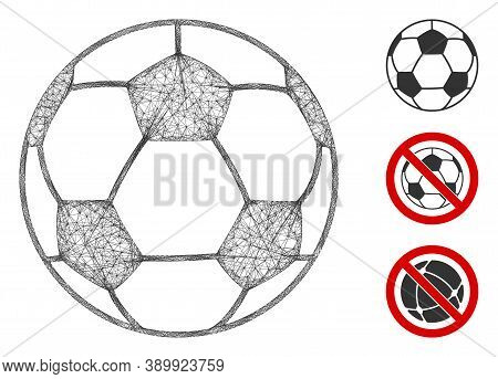 Mesh Football Ball Polygonal Web Icon Vector Illustration. Carcass Model Is Based On Football Ball F