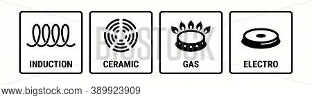 Induction Icon, Electric Hob And Gas Cooking Stove Or Ceramic Oven Grate Cooker, Vector Symbol. Indu