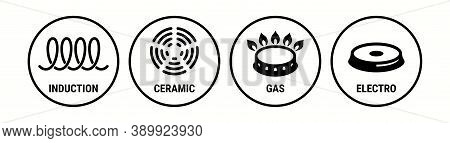 Induction Icon, Ceramic, Gas And Electric Cooking Hob Vector Symbols. Coking Stove Or Oven Grate Coo