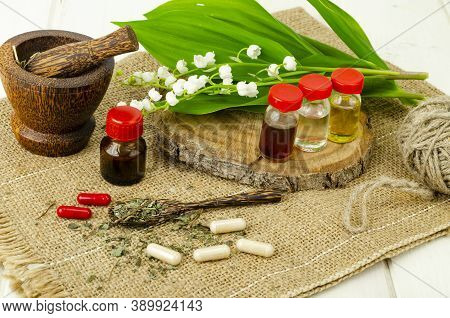 Lily Of The Valley, Essential Oil, Extract, Tincture, Infusion, Remedy, Herbal Capsules. Fresh Flowe