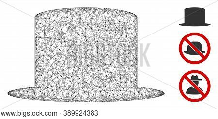 Mesh Gentleman Hat Polygonal Web Icon Vector Illustration. Model Is Based On Gentleman Hat Flat Icon