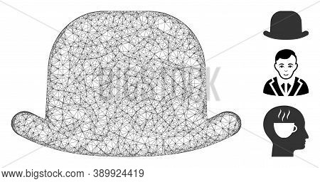 Mesh Gentleman Hat Polygonal Web Icon Vector Illustration. Abstraction Is Created From Gentleman Hat