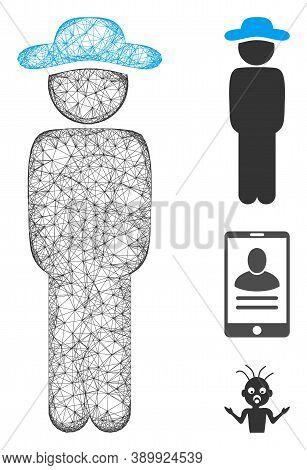 Mesh Gentleman Standing Polygonal Web 2d Vector Illustration. Model Is Based On Gentleman Standing F