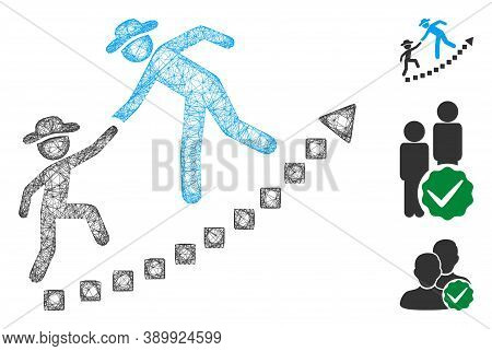 Mesh Gentlemen Education Growth Polygonal Web 2d Vector Illustration. Abstraction Is Based On Gentle