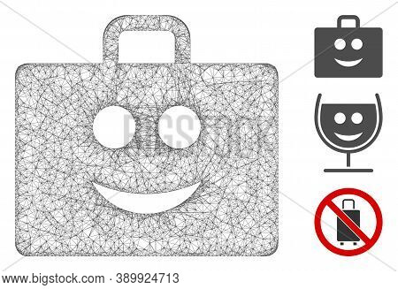 Mesh Glad Case Polygonal Web Icon Vector Illustration. Model Is Created From Glad Case Flat Icon. Tr