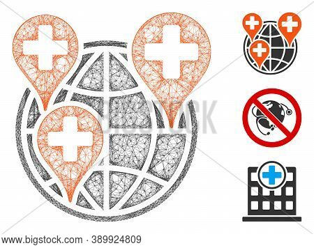 Mesh Global Clinic Company Polygonal Web Icon Vector Illustration. Abstraction Is Based On Global Cl