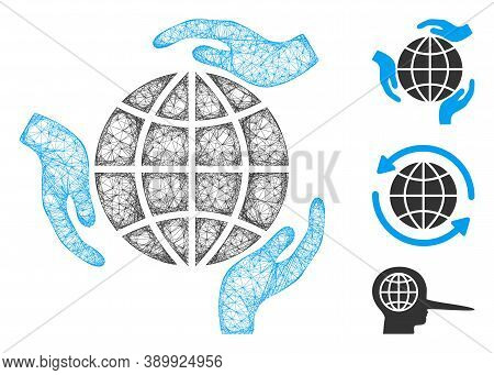 Mesh Global Protection Polygonal Web Icon Vector Illustration. Carcass Model Is Based On Global Prot