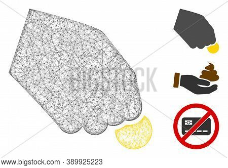 Mesh Hand Pay Coin Polygonal Web Icon Vector Illustration. Carcass Model Is Based On Hand Pay Coin F