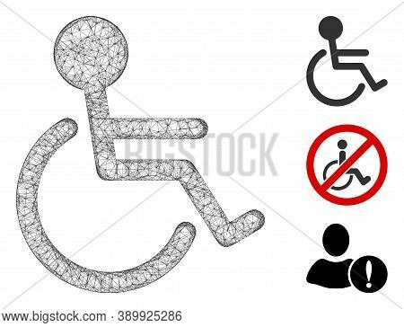 Mesh Handicapped Polygonal Web Icon Vector Illustration. Carcass Model Is Created From Handicapped F