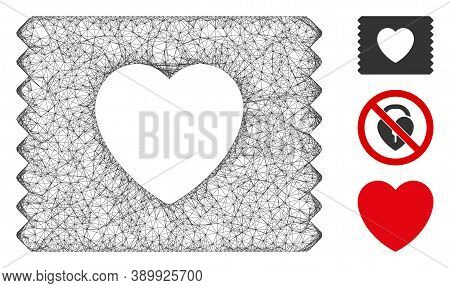 Mesh Heart Condom Pack Polygonal Web Icon Vector Illustration. Model Is Created From Heart Condom Pa
