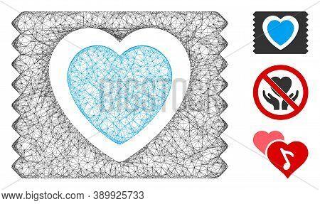 Mesh Heart Condom Pack Polygonal Web Icon Vector Illustration. Model Is Based On Heart Condom Pack F