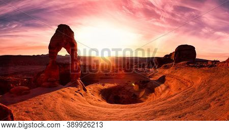 Beautiful Panoramic Landscape Of The Unique Sandstone Rock Formation In The Desert. Dramatic Colorfu