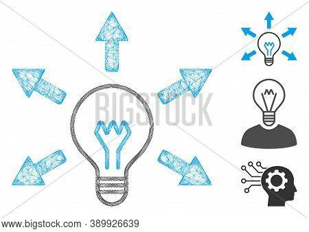 Mesh Idea Bulb Polygonal Web Icon Vector Illustration. Carcass Model Is Based On Idea Bulb Flat Icon