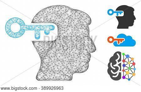 Mesh Intellect Key Polygonal Web 2d Vector Illustration. Carcass Model Is Based On Intellect Key Fla
