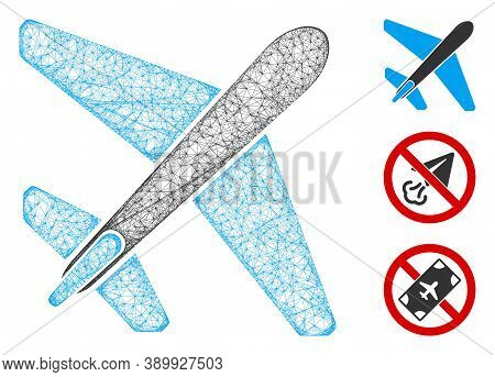 Mesh Jet Airplane Polygonal Web Icon Vector Illustration. Model Is Based On Jet Airplane Flat Icon.