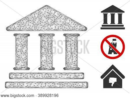 Mesh Library Building Polygonal Web Icon Vector Illustration. Model Is Based On Library Building Fla