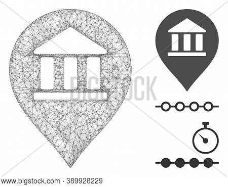 Mesh Library Map Marker Polygonal Web Symbol Vector Illustration. Carcass Model Is Based On Library