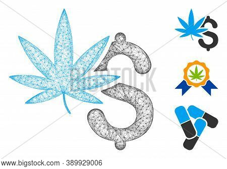 Mesh Marijuana Business Polygonal Web Symbol Vector Illustration. Carcass Model Is Created From Mari
